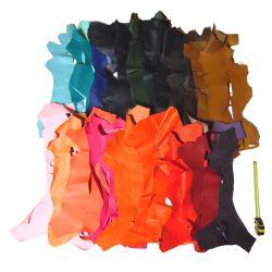 Lot 15 kg chutes de cuir Chèvre multicolore